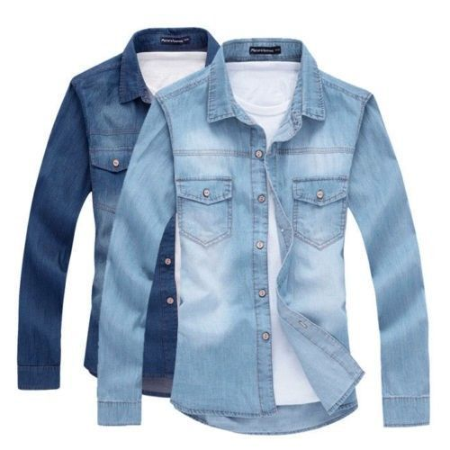 Hombre Camisa de Jean de mezclilla azul de manga larga