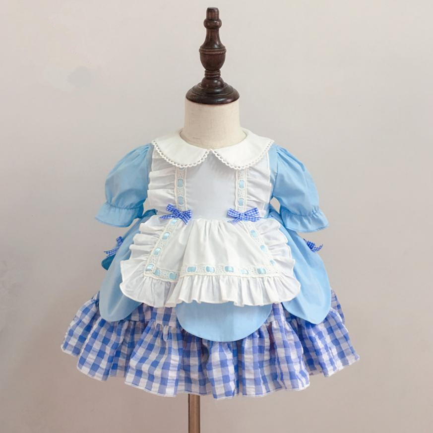 2019 Summer Spanish Lolita Dress For Girl Short Sleeve Plaid Princess Dress Baby Birthday Party Gown Kids Clothes Vestidos Y12232019 Summer Spanish Lolita Dress For Girl Short Sleeve Plaid Princess Dress Baby Birthday Party Gown Kids Clothes Vestidos Y1223