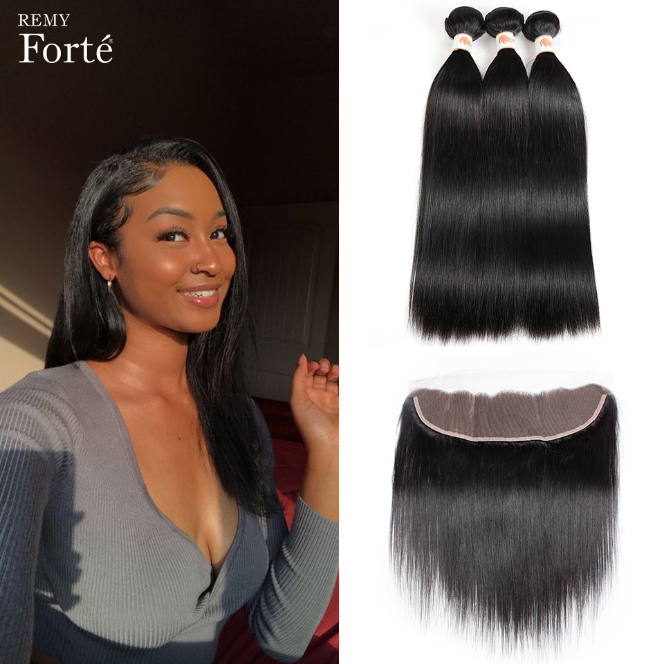 Remy Forte 30 Inch Bundles With Frontal Straight Human Hair Bundles With Frontal Brazilian Hair Weave