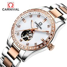 Carnival Watch Women tourbillon Automatic Mechanical Luminous Rose Gold Stainless Steel Waterproof Girls Watches