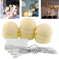 Mabor Aladin 10 LED Cotton Ball Gorgeous Battery String Light Ivory White Party Patio Decor Decoration 1.8M