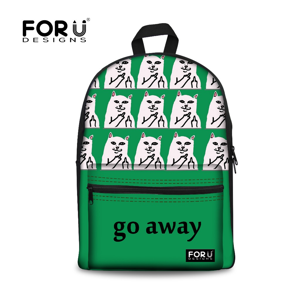 Women Canvas Backpack Go Away Cat Middle Finger Funky Backpacks High School Students Shoulder Bag Casual Travel Rucksack Bags