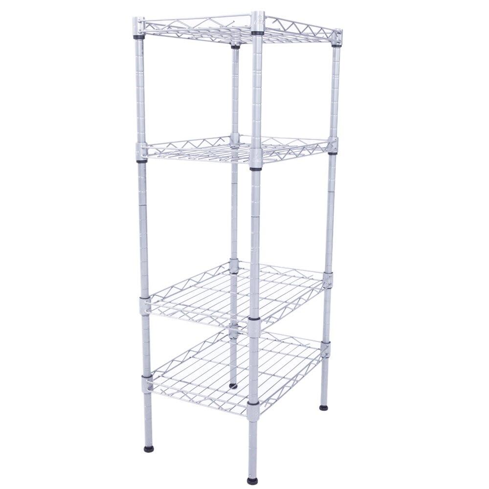 4 Tier Shelves Wire Shelving Rack Shelf Adjustable Unit