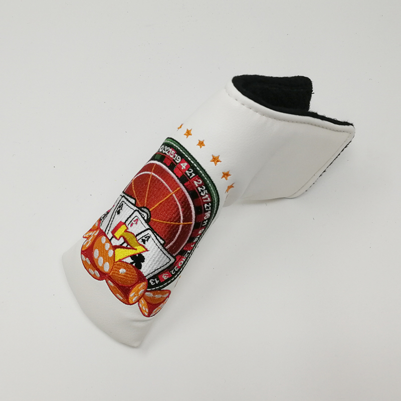 Golf Putter Head Cover for blade putter white golf Headcover with Embroidery dice and poker