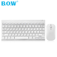 B.O.W 2.4GHz Rechargeable Compact Whisper Quiet Keyboard(78 keys) and Mouse Combo with Nano USB Receiver for Windows, Laptop, Pc