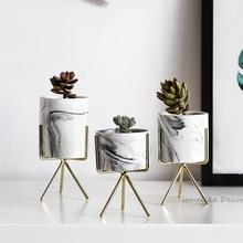Набор из 3 шт. мраморные Цветочные Кашпо с золотой железная полка вазон для суккулентов Главная Декоративные керамика ваза без отверстия