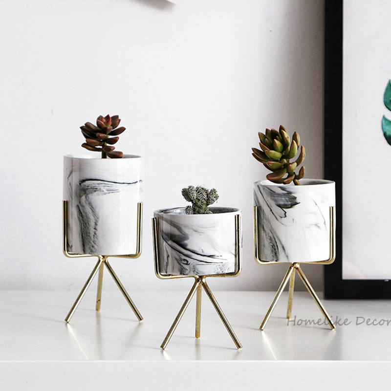 Set of 3pcs Marble Flower Planters with Gold Iron Shelf Succulent Plant Pot Home Decorative Ceramic Flower Vase without Hole