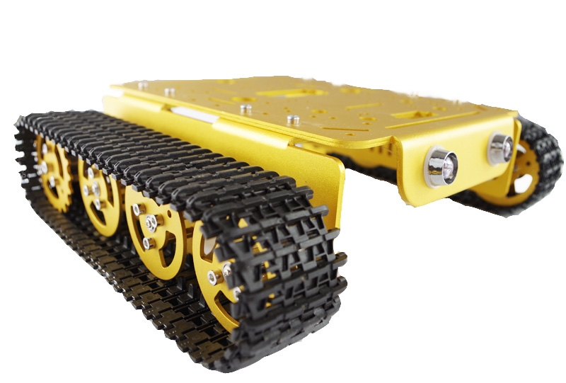 RC Track Mount Model T200-M Golden Alloy DIY Tank Chassis Robbot Chassis hello maker 158 alloy diy tank driving wheel with coupling for tank robbot chassis