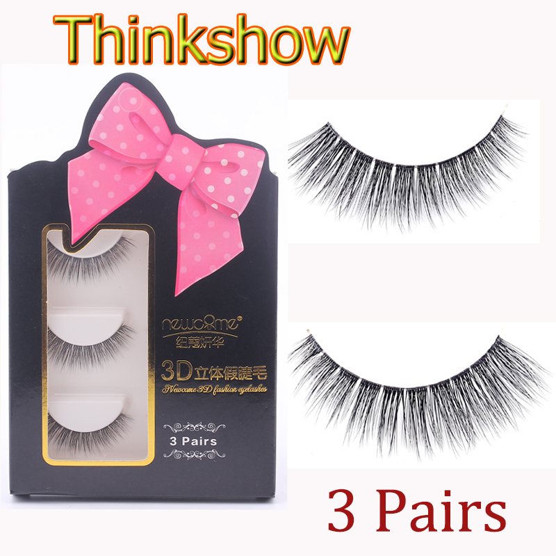 3 Pairs 3D Handmade Natural Mink Full False Eyelash High Quality Thick Strip Eye Lashes Extension Makeup Beauty Tools 3D-1-1