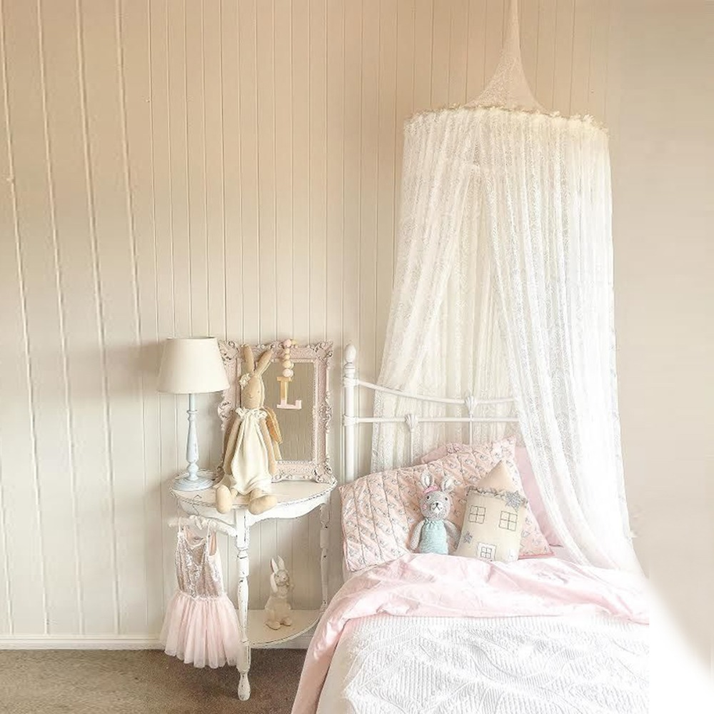 Nordic Lace Baby Princess Dome Canopy Bed Curtains Round Room Decoration Bed Hanging Crib Netting Kids Play Tents Mosquito Nets nordic white lace girls princess dome canopy bed curtains round kids play tent room decoration baby bed hanging crib netting