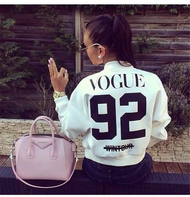 European new vogue92 abbigliamento da baseball giacca corta zipper manica lunga nero bianco lettere baseball abbigliamento maglione cardigan