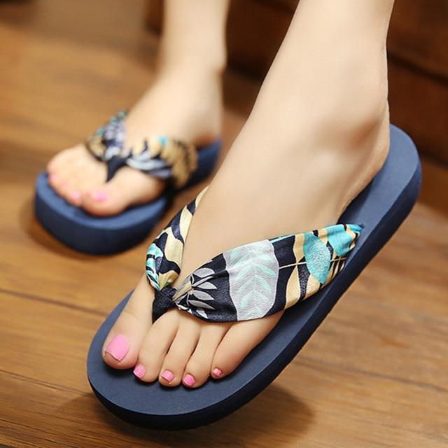 75d8239d66b65 Women Slippers Satin Flip Flops Shoes Fashion Floral Unicorn Slippers Soft Summer  Beach Bohemia Slope Heel Female Slipper ALD923