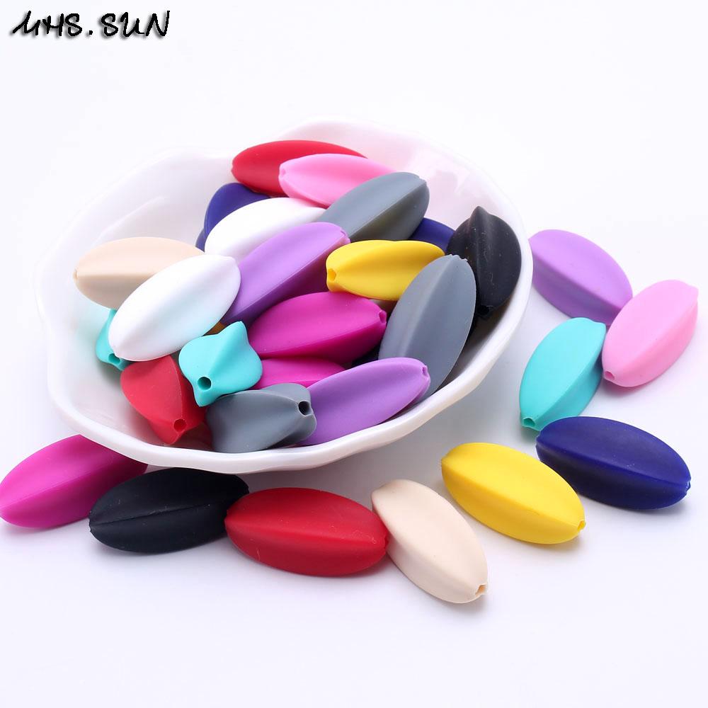 Beads Careful Mhs.sun Colorful Special Starfruit Teething Silicone Beads 30pcs 100% Food Grade Chewable Oval Bead For Nursing Baby Toy/jewelry High Standard In Quality And Hygiene