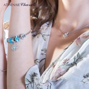 Image 5 - Athenaie novo 925 prata esterlina bebê pegada murano contas de vidro azul encantos caber encantos pulseiras & colares jóias fazendo