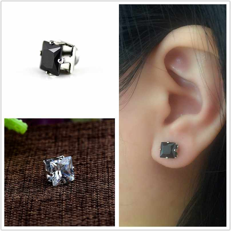 088500b2f ... 2018 HOT SALE Magnet earrings for men fashion cool Hiphop 6MM 8MM  square black White stud ...