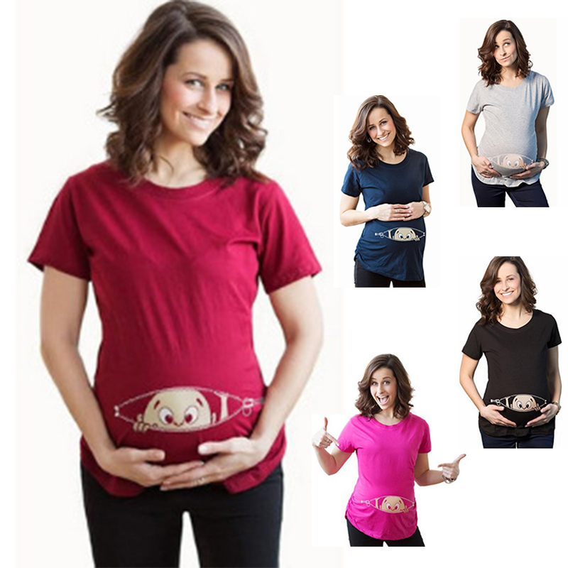T Shirts Casual Pregnancy Maternity Clothes With Baby Peeking Out Shirts Pregnant Clothes Plus Size Cute Pregnant Maternity
