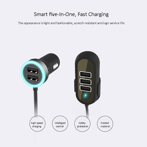Image 3 - Multi 5 Ports Car Charger For Huawei Samsung Tablet rear seat fast car charger 5.8A Universal Usb Extension Cable Car Adapter