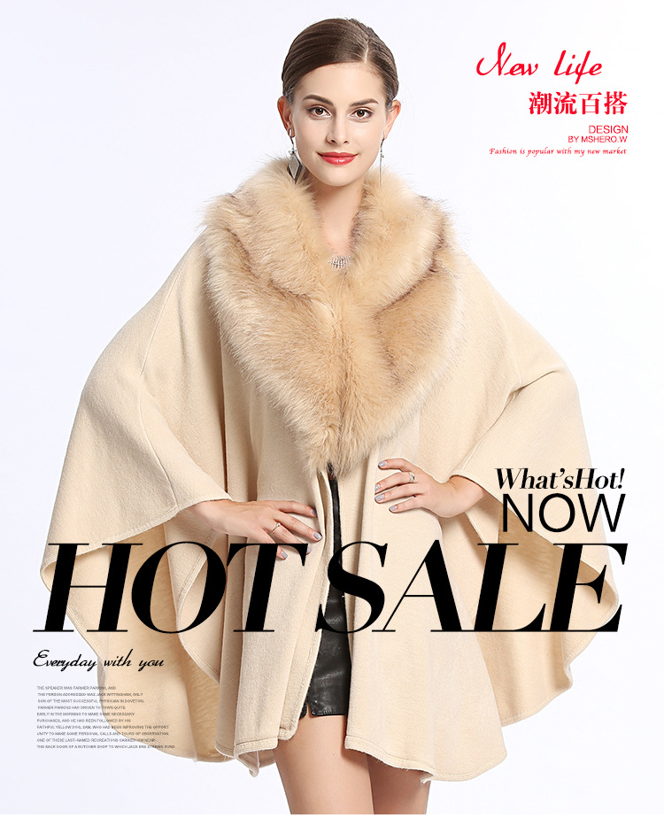 Faux Fur Poncho autumn and winter new Fanghulimaodamaolingkuansong large size knitted Cape sweater