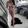 European Style Sexy Off Shoulder Velvet Jumpsuit Women Slim Bodycon Overalls Rompers Ladies Casual Long Pants for  Autumn Winter