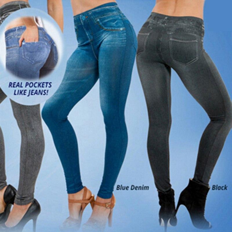 2018 Leggings Jeans Women Denim Pants with Pocket Slim Trousers Fitness Leggings Plus Size S-XXL Black Blue