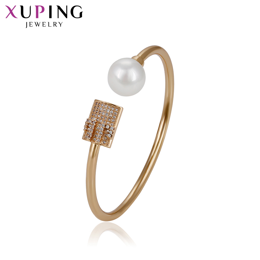 Bangles Xuping Fashion Gold Color Plated Temperament Bangle New Arrival High Quality Jewelry Women Gift Halloween Gifts S72,4-51719 To Enjoy High Reputation At Home And Abroad Bracelets & Bangles