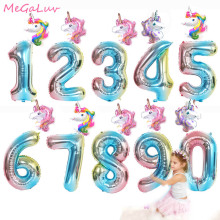2pcs/set 32 Inch Rainbow Number Balloons with Pink Unicorn Baloons 1st 2nd 3st Birthday Party Decorations Kids Globos