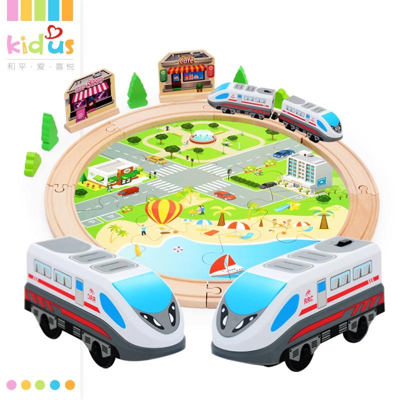 Zalami 29PCS Wooden Railway Track Set with Electric Engine Musical Train children Orbit gift interesting kids Toy DIY стоимость