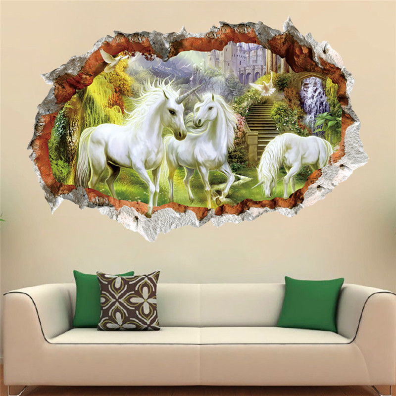 cartoon 3d effect through white horse wall sticker for kids room children bedroom living room. Black Bedroom Furniture Sets. Home Design Ideas