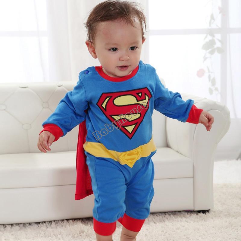 New Baby Boy Romper Superman Long Sleeve with Smock Infant Cartoon Halloween Christmas Costume Gift Children Kids SV000172 b014