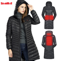 SNOWWOLF 2018 Women Heated Outdoor Winter Clothes USB Infrared Heating Hooded Long Down Jacket Camping Hiking Thermal Women Coat