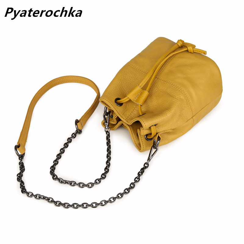 Pyaterochka Bucket Bag Women Real Leather Single Shoulder Bag 2018 Fashion Chains Shoulder Handbags Luxury Famous Brand Bags Bao famous brand unique design beach bag nets bucket bags female handbags hollow bao bao women shoulder bags summer totes bag tassel