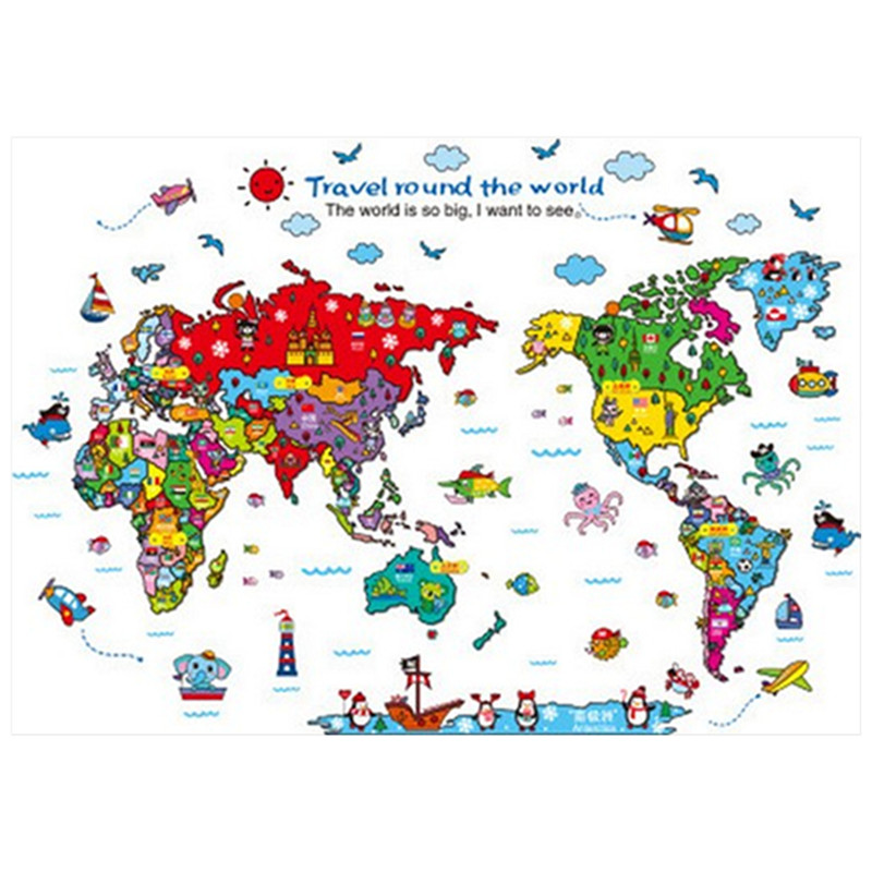 Baby Travel Around The World Map Cartoon Animals 3d Pvc