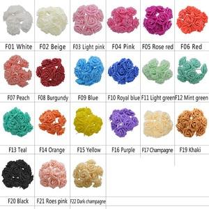 Image 5 - 25 머리 8CM 새로운 다채로운 인공 PE 거품 장미 꽃 신부 꽃다발 홈 웨딩 장식 Scrapbooking DIY 용품
