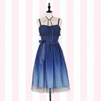 Gradient Starry Sky Fairy Deep Blue Mori Girl Sleeveless Long Dress By IDream