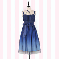 Gradient Starry Sky ~ Fairy Deep Blue Mori Girl Sleeveless Long Dress by iDream