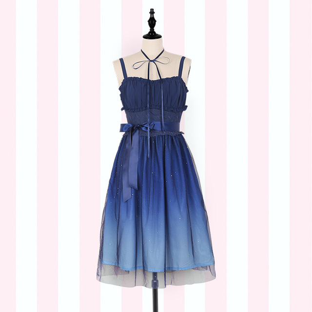 Gradient Starry Sky Lolita Summer Dress ~ Fairy Blue Mori Girl Sleeveless Long Dress by iDream