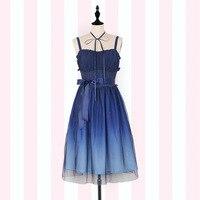 Gradient Starry Sky Lolita Summer Dress ~ Fairy Blue Mori Girl Sleeveless Long Dress by iDream