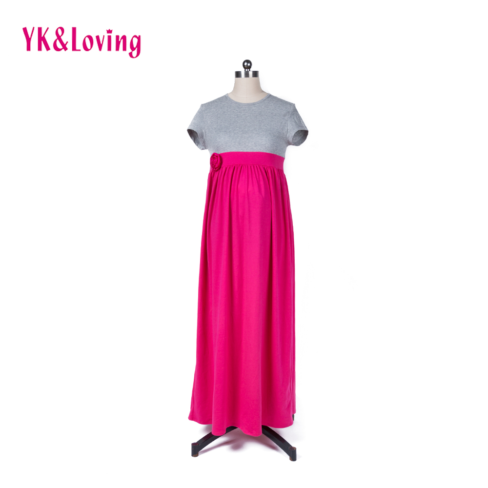 pregnancy clothes maternity women cotton dress pregnant women maxi pregnant dress with flower red soft and Simple dress for girl