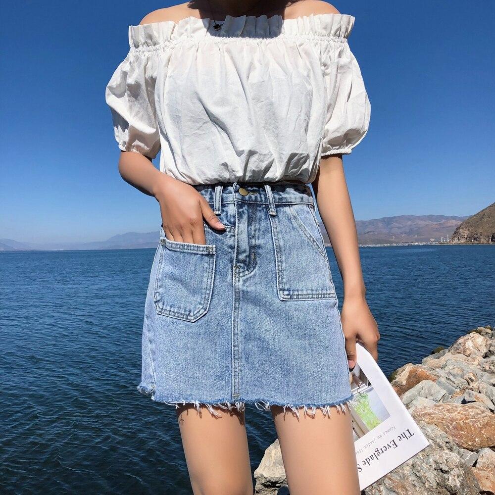 Blue Pockets Casual Mini Denim Skirt 2019 Spring Summer New Bodycon Women Skirt Basic Women Jeans Skirt High Waist Saias