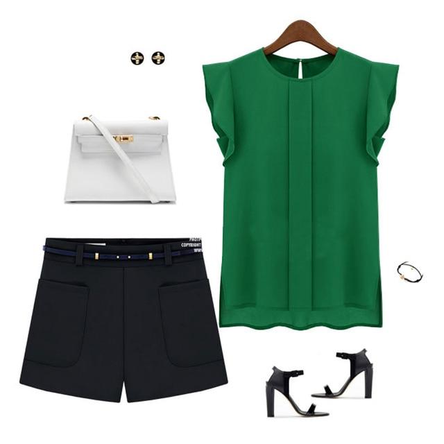 Women Summer Elegant Blouse Office Lady Solid Short Sleeve Chiffon Shirt Ruffle Top 8