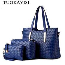 3pcs/set Womens Bag Leather Fashion Handbags new Designers braid pattern Shoulder Clutch Bags Female shopping bag