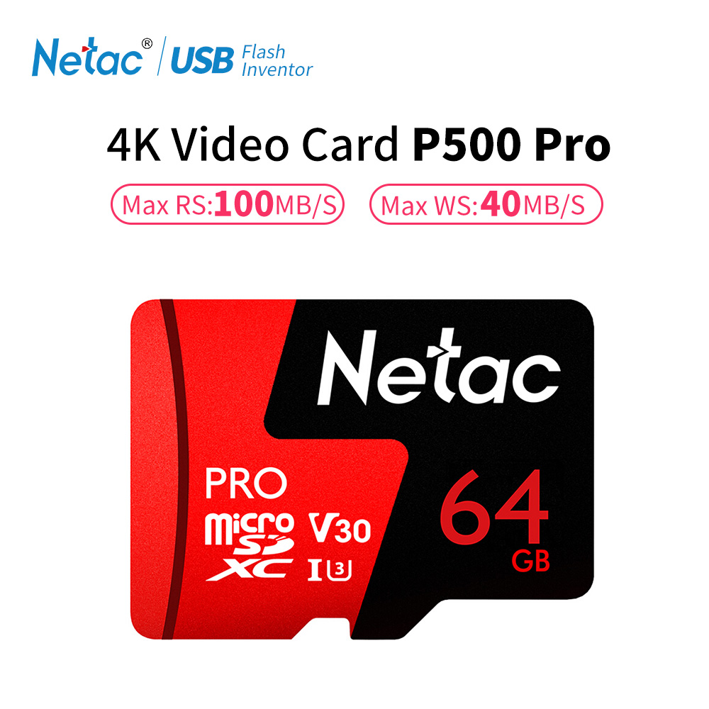 Netac P500 Pro 64GB Micro SD Card 128GB TF Card U3 V30 Computer Video Card Up to 100MB/s Phone Memory Card For Smartphone Drone настольная лампа odeon light lerta 1803 1t