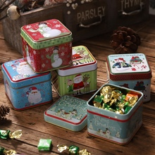 Embossing Christmas Tinplate Empty Tins Candy Cookie Gift Storage Container Holiday Decorative Box