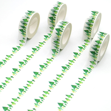 1 PCS Kawaii Green Tree Washi Tape Pattern Masking Tape Decorative Scrapbooking DIY Office Adhesive Tape 15mm*10m
