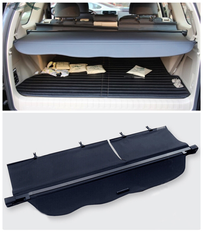 For Toyota Land Cruiser Prado FJ150 2014 2015 Black Rear Cargo Cover Trunk Shade Security Cover 1set black rear trunk cargo cover shade for toyota land cruiser prado fj150 2010 2011 2012 2013 2014 2015