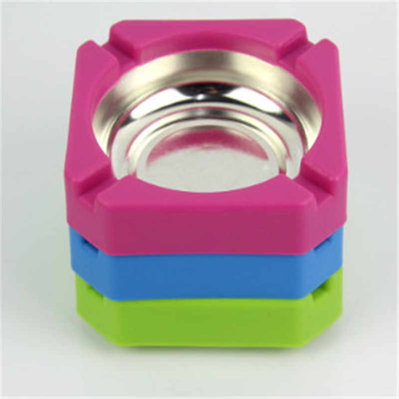 Home Ashtray New Candy Colored Plastic Stainless Steel Square Edging Ashtray Home Office Advertising Cigarette Accessories