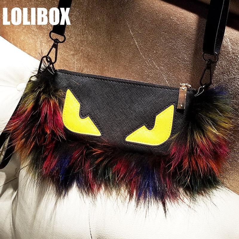 LOLIBOX Women Bag Color Raccoon Fur Super Fluffy Microfiber Women Handbags  Women Messenger Bags Plush Bag clutches 7a1b49964c53f