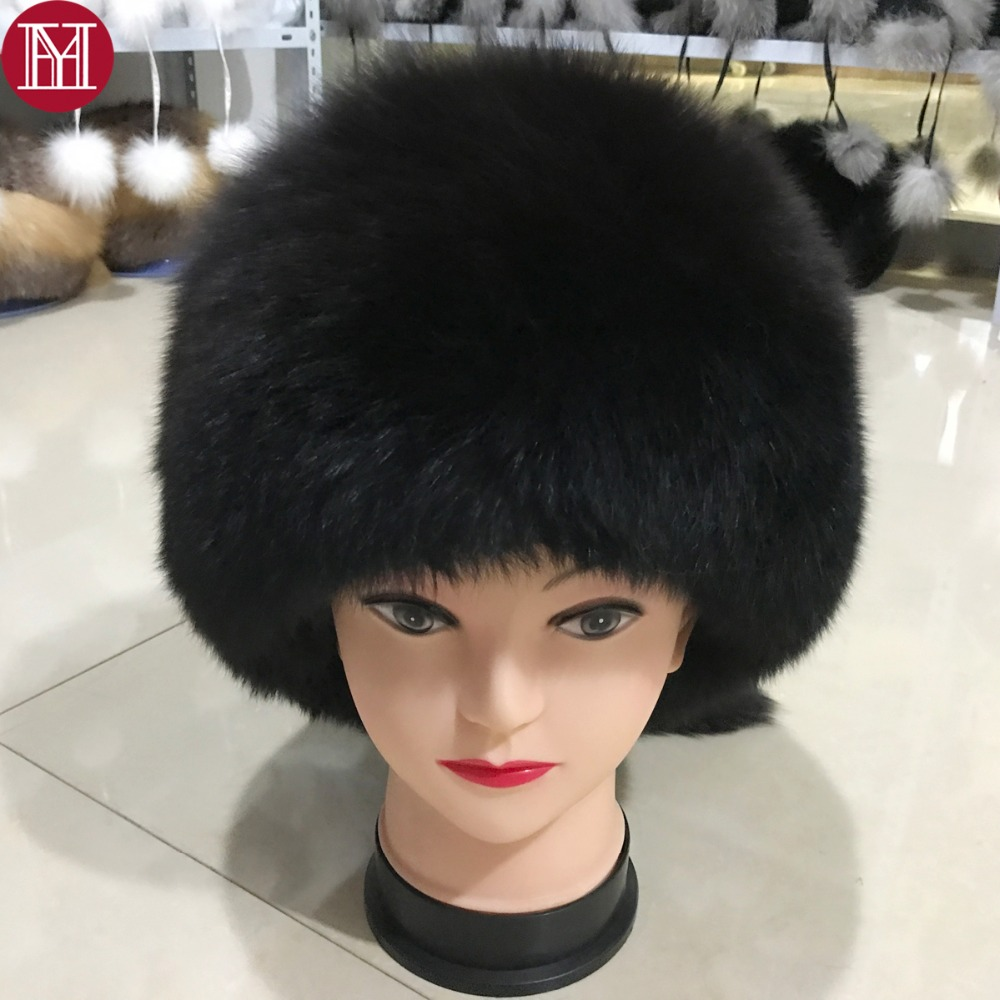 184c7a379495a 2017 new style luxury winter Russian genuine real fox fur hat women warm  good quality 100% natural real fox fur cap fox fur hat
