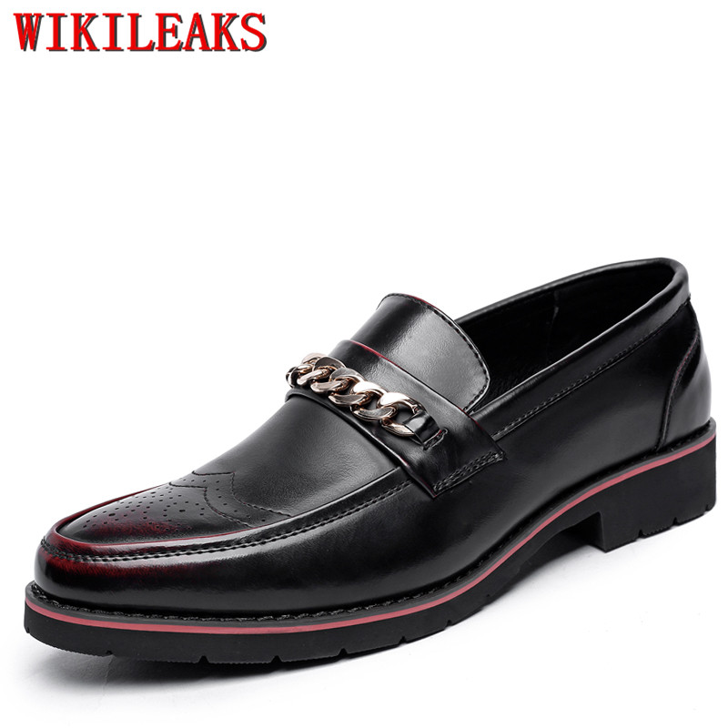 2019 Luxury Brand Men Formal Shoes Slip-On Loafers Leather Brogue Oxford Shoes For Men Dress Shoes Office Party Wedding Shoes