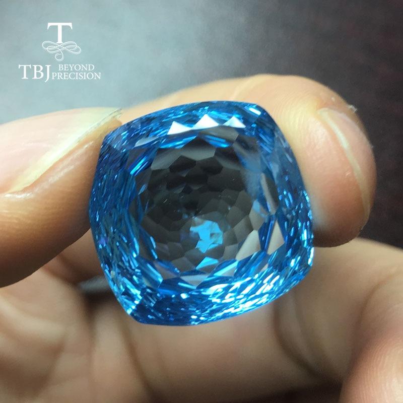 Tbj, coussin de pierres précieuses de topaze bleue lâche naturelle 18mm nid d'oiseau pierres précieuses en vrac pour bricolage bijoux fins